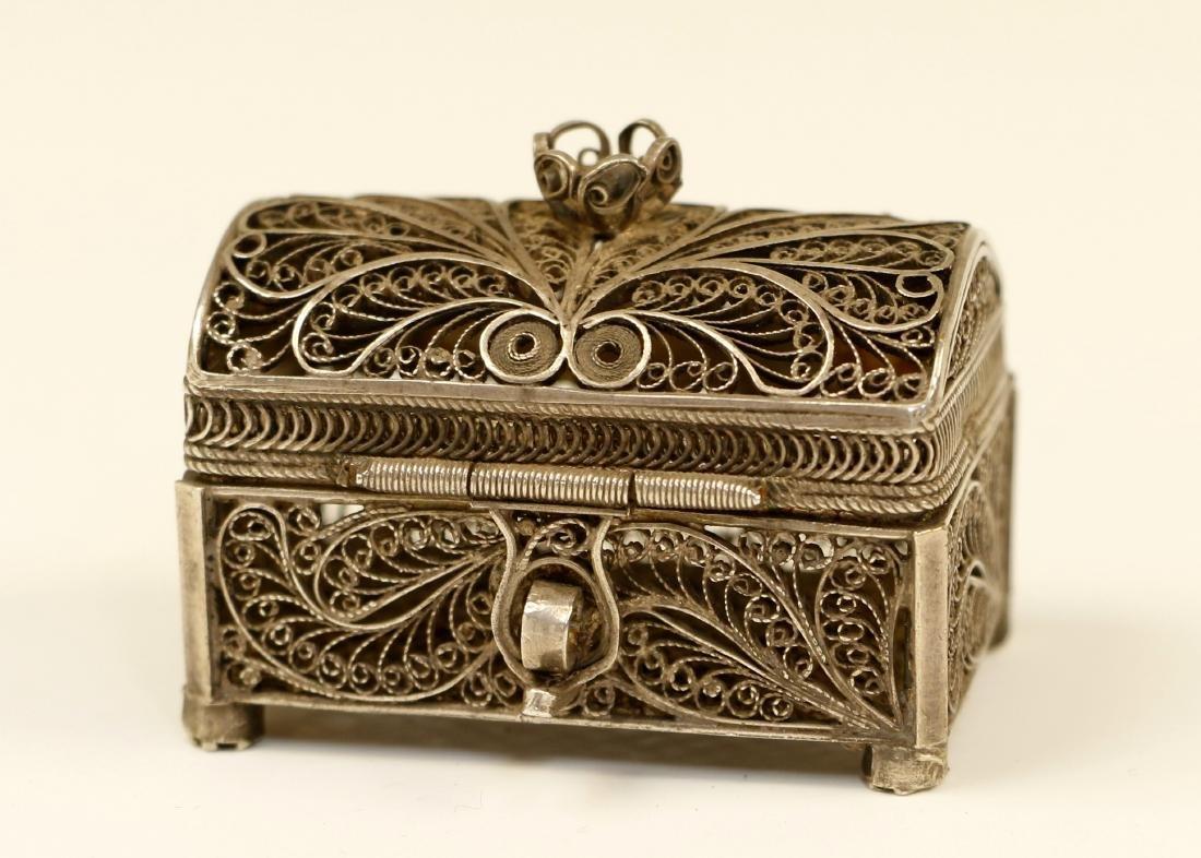 63. A SILVER FILIGREE SPICE CASKET. Russian, 1866. In