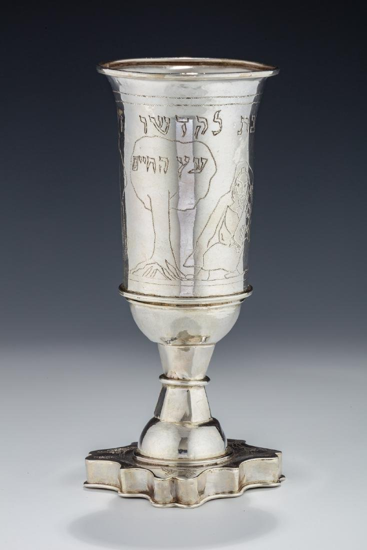 84. A MASSIVE STERLING SILVER KIDDUSH GOBLET BY MICHAEL
