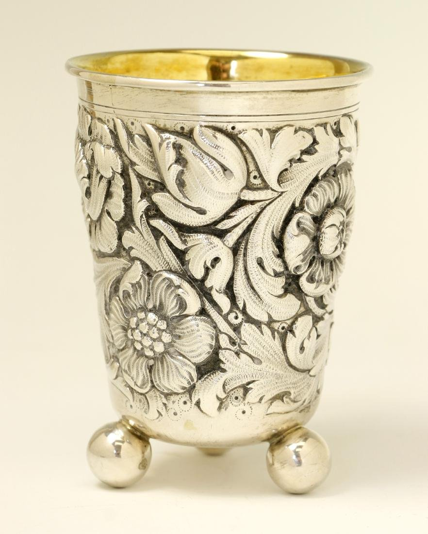95. A LARGE SILVER KIDDUSH CUP BY WOLF HECKER.