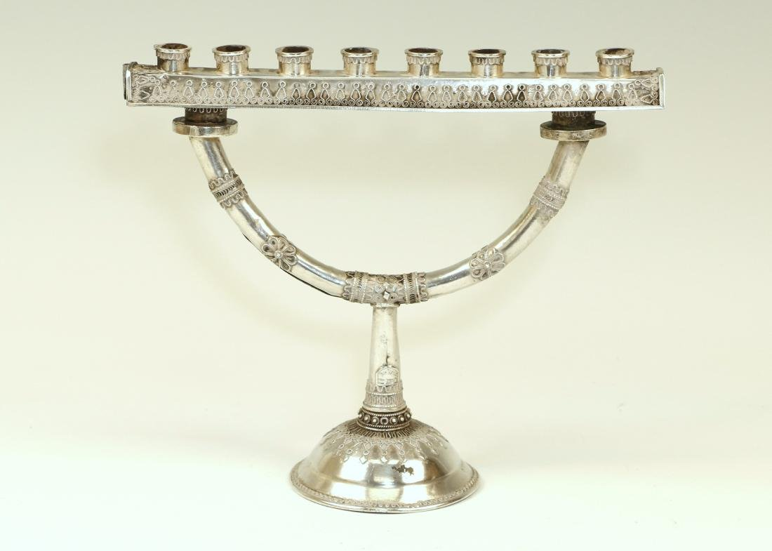 117. A SILVER CHANUKAH MENORAH BY BEZALEL. Jerusalem,
