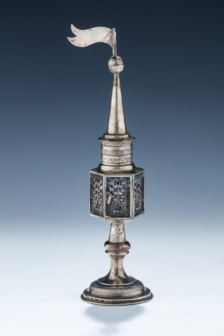 1. A LARGE SILVER SPICE TOWER. Warsaw, 19th century. On