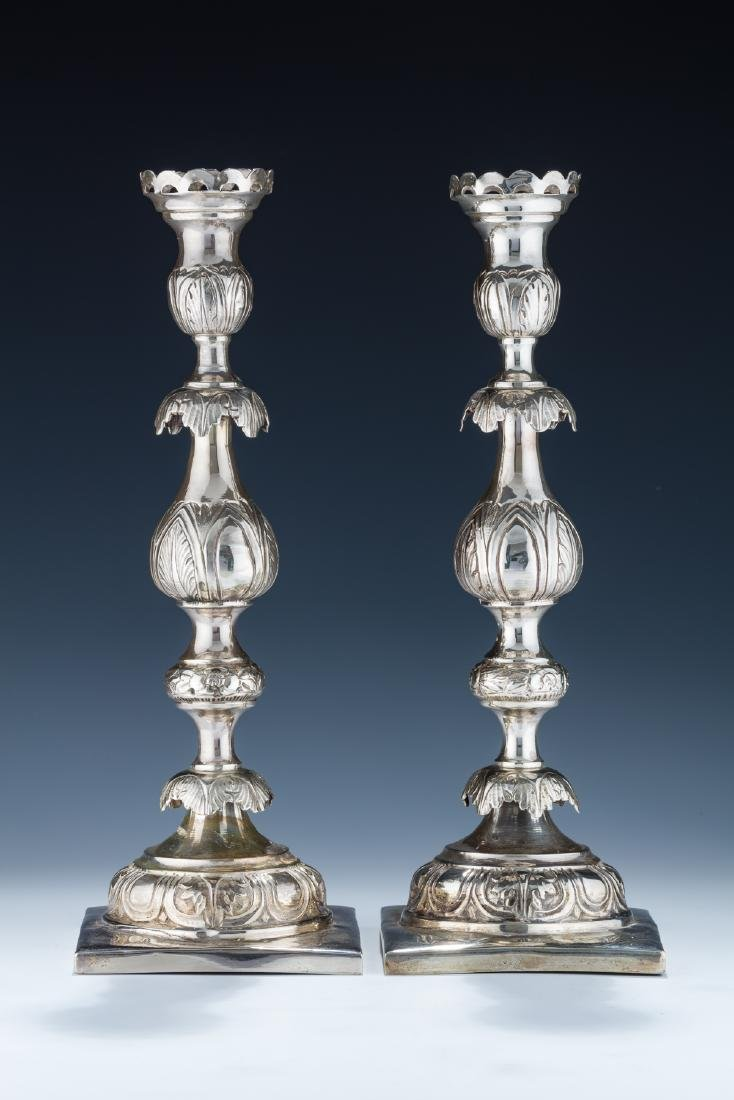 8. A PAIR OF LARGE SILVER CANDLESTICKS BY SHMUEL