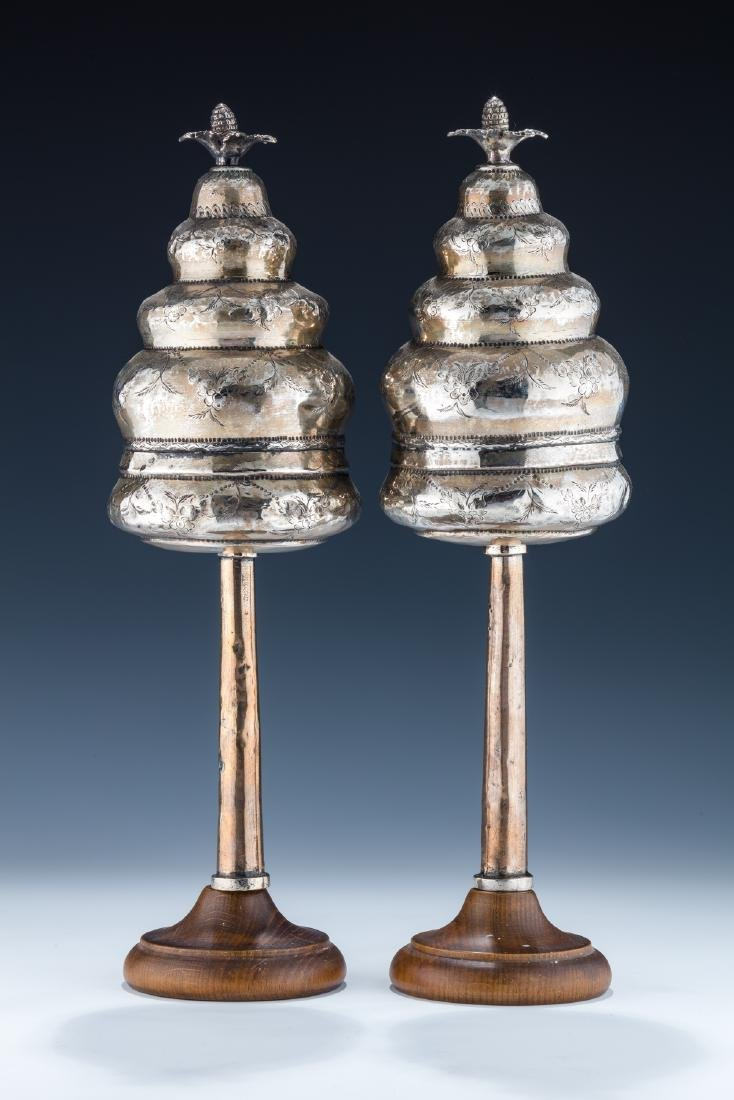 11. A PAIR OF SILVER TORAH FINIALS. Turkey, 19th