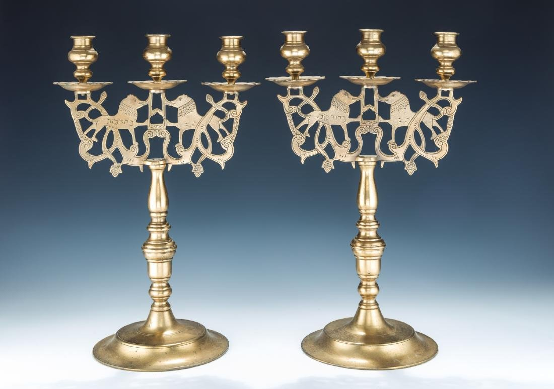 15. A PAIR OF LARGE BRASS SABBATH CANDELABRAS. Poland,