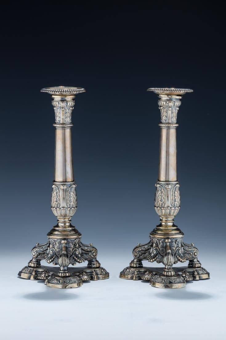 16. A PAIR OF SILVER CANDLESTICKS. Germany, 19th
