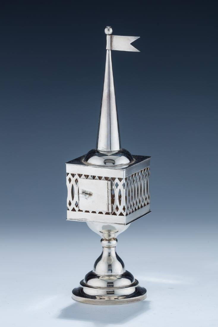 22. A SILVER SPICE TOWER. Romania, c. 1900. On round