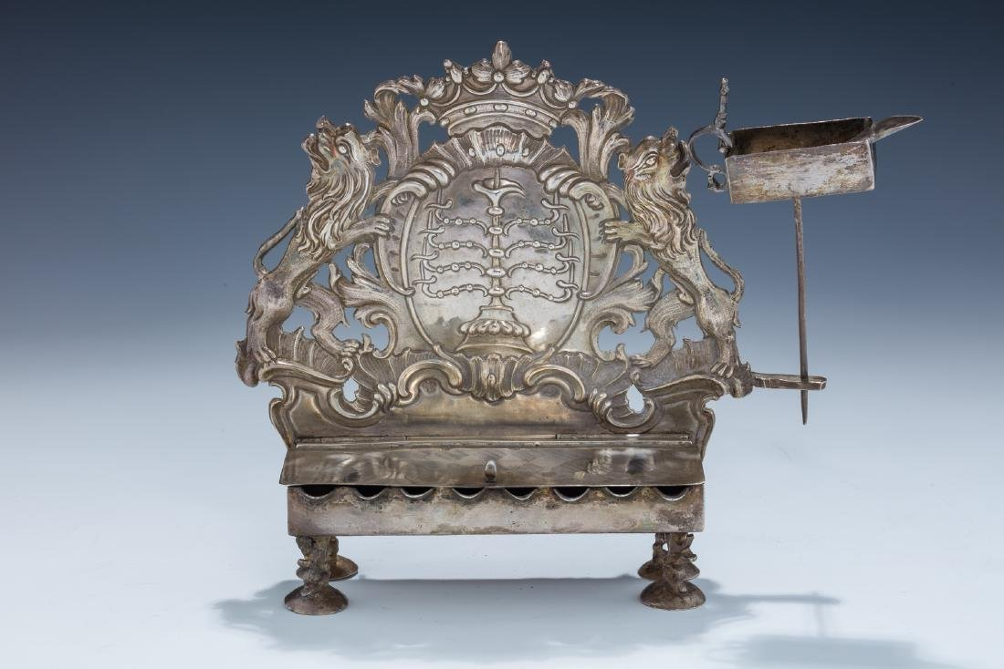 122. A RARE AND IMPORTANT CHANUKAH LAMP BY JOHANN JAKOB