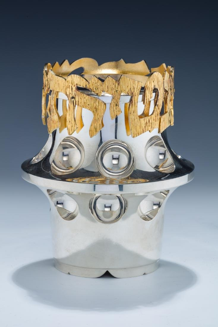 154. A LARGE STERLING SILVER ETROG CONTAINER BY CARMEL