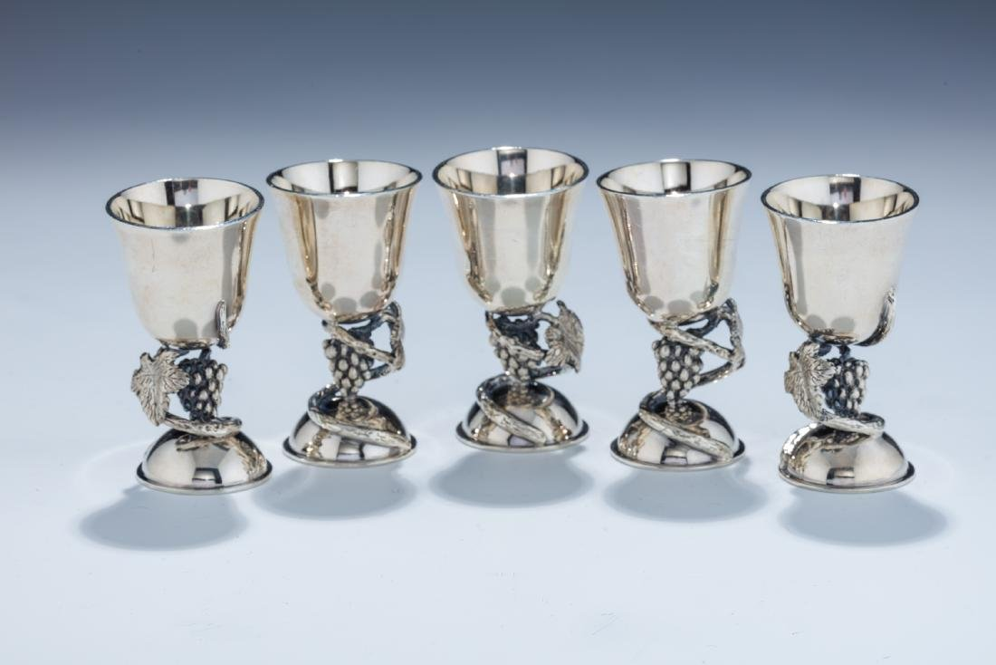156. FIVE STERLING SILVER GOBLETS BY SWED MASTER