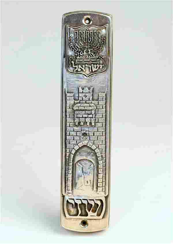 A LARGE STERLING SILVER MEZUZAH BY HENRYK WINOGRAD. New