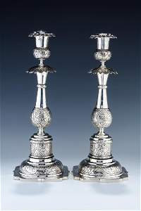 A MASSIVE PAIR OF SILVER CANDLESTICKS. Russia, 1867.