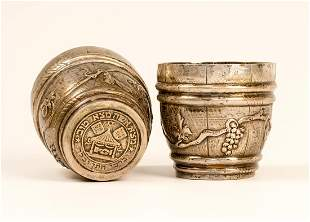 A SILVER BARREL SHAPED DOUBLE CUP. Germany, 20th