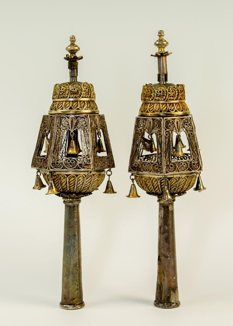 A PAIR OF SILVER TORAH FINIALS. Palestine, 1946. On