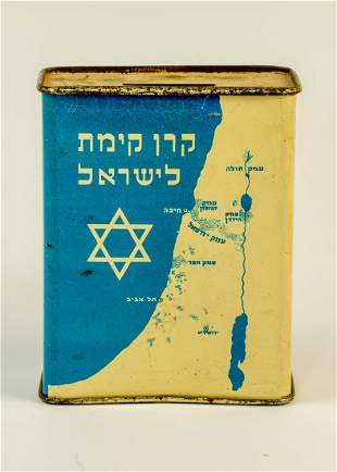 A JNF CHARITY BOX Palestine c 1930 With the map of