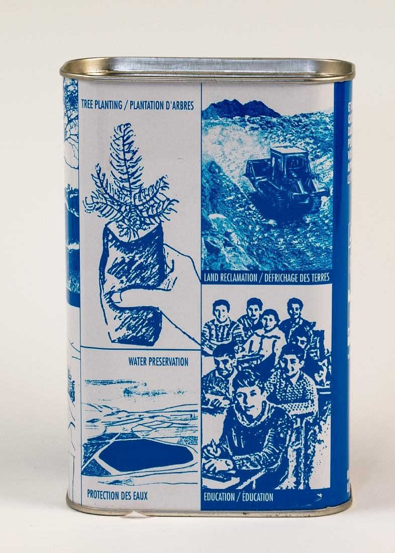 A JNF CHARITY BOX. Canada, c. 1980. Decorated with the