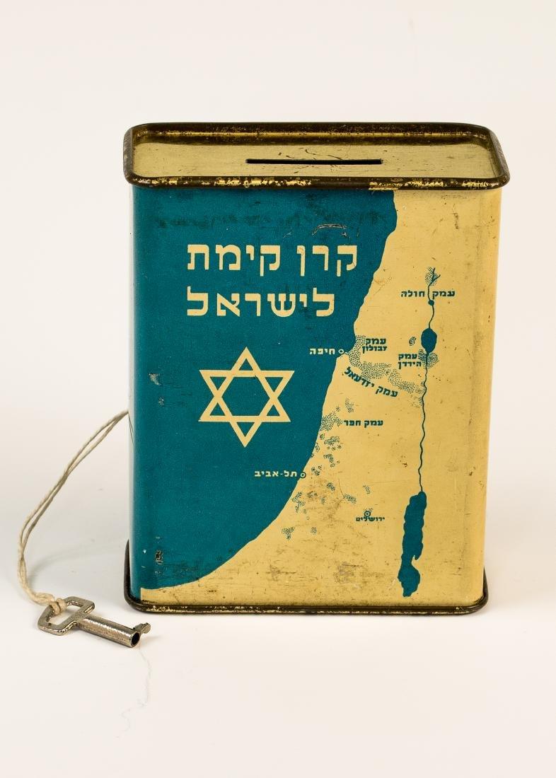 AN EARLY JNF CHARITY BOX BY L. KOENIGSHOFER. TEL AVIV,