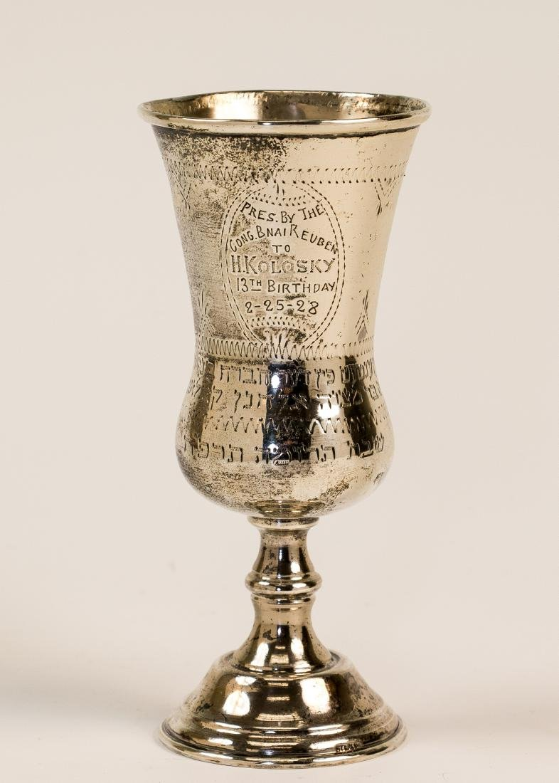 A STERLING SILVER KIDDUSH CUP. American, 1928. Engraved