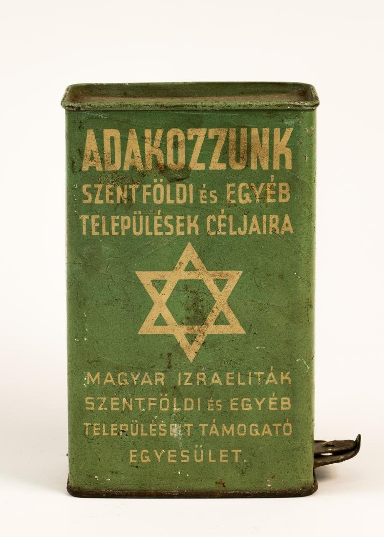 AN EARLY TIN CHARITY BOX COLLECTING FUNDS FOR HUNGARIAN