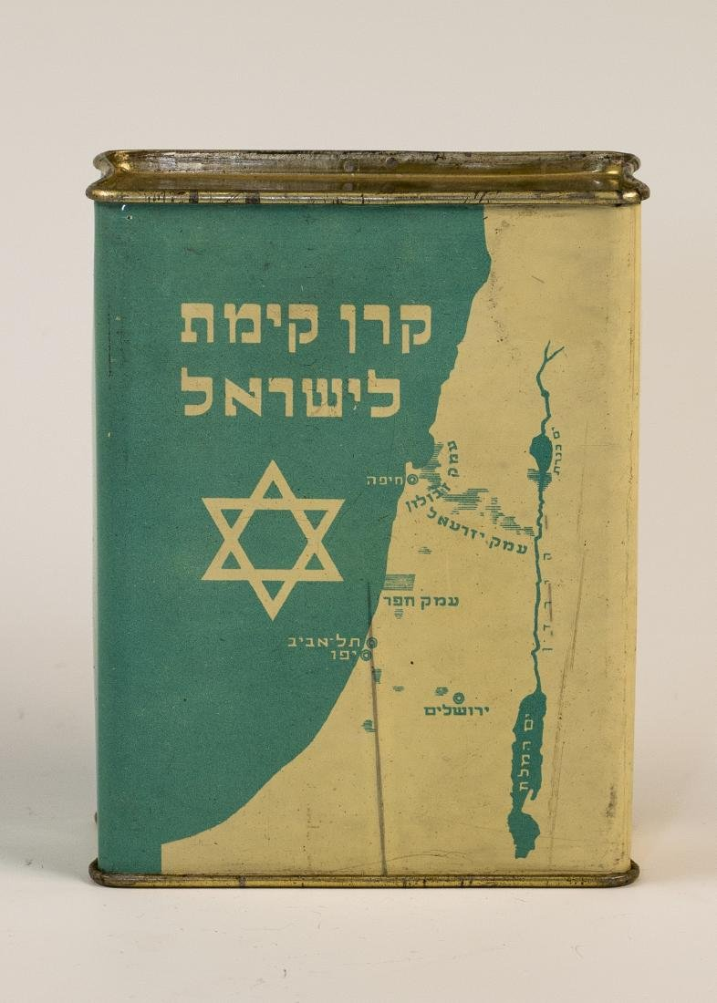 A JNF COLLECTION BOX. Jerusalem, c. 1950. With applied