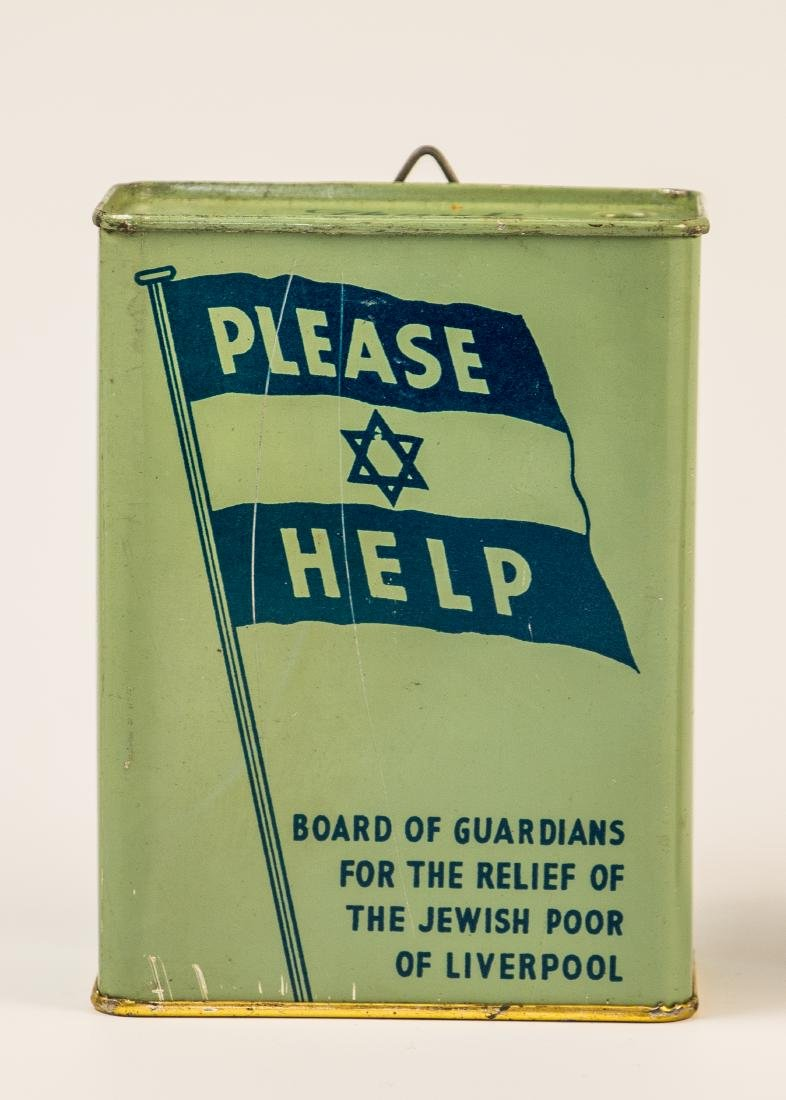 A TIN CHARITY BOX. Liverpool, c. 1940. Collecting funds