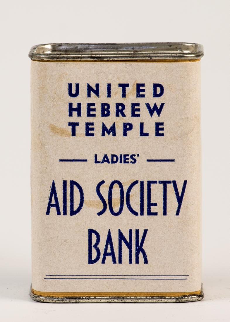 A TIN CHARITY BOX. American, c. 1950. Collecting funds