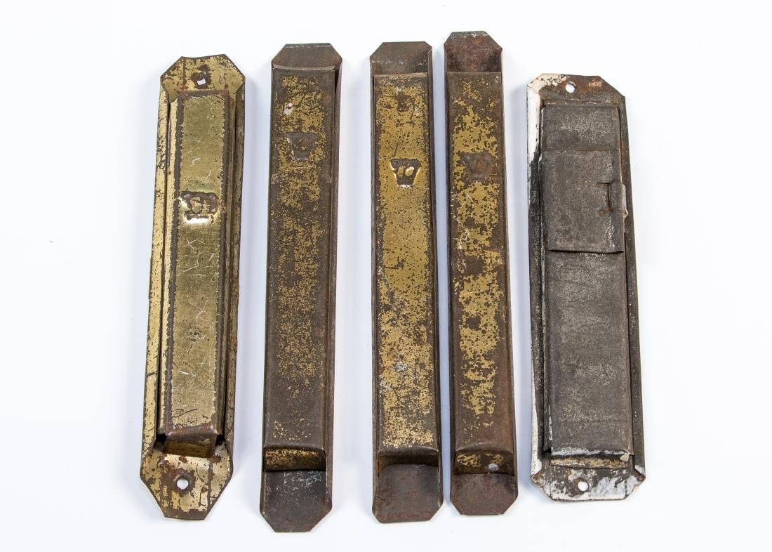 FIVE TIN MEZUZAH. Probably American or Poland, c. 1920.