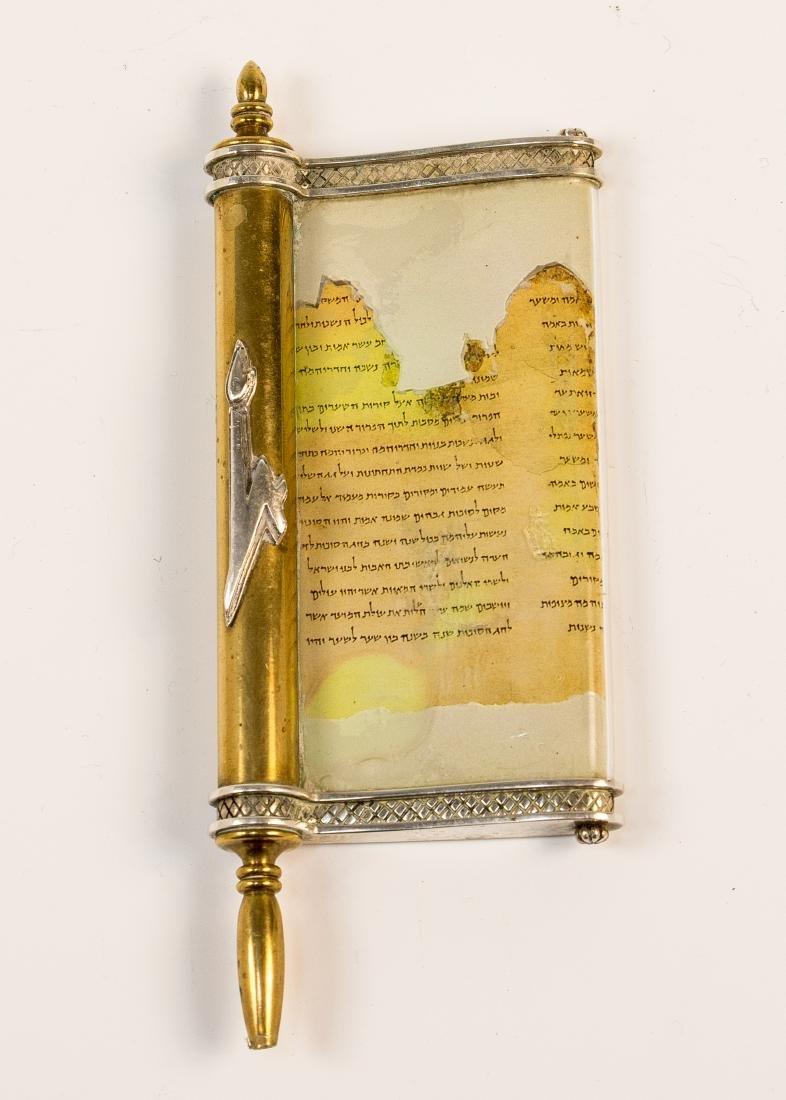 A SILVER AND BRASS MEZUZAH CASE BY DUDEK SWED. Israel,