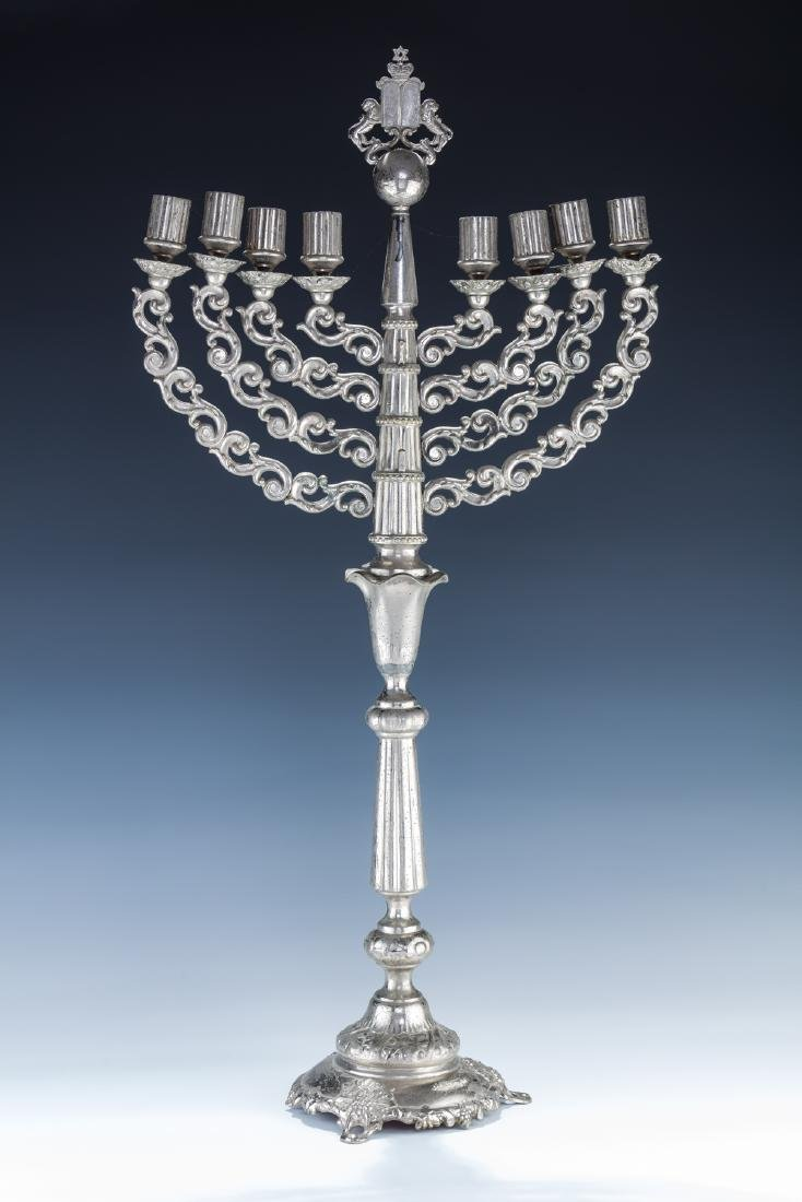 A LARGE SILVER PLATED CHANUKAH MENORAH. Warsaw, c.