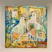OIL ON CANVAS BY RIVKA ROSENTHAL. Israel, modern. Doves