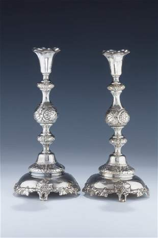 A PAIR OF LARGE SILVER CANDLESTICKS Warsaw c 1890