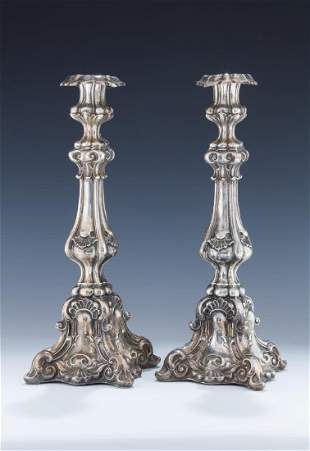 A PAIR OF VERY LARGE SILVER CANDLESTICKS. Poland, c.