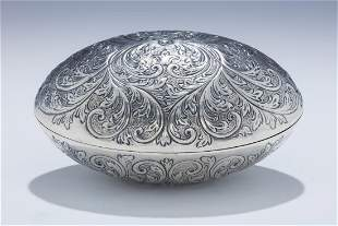 A RARE AND LARGE OVAL SHAPED ETROG BOX. Vienna, c.