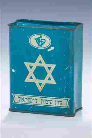 A LARGE TIN JNF COLLECTION BOX Jerusalem c1915