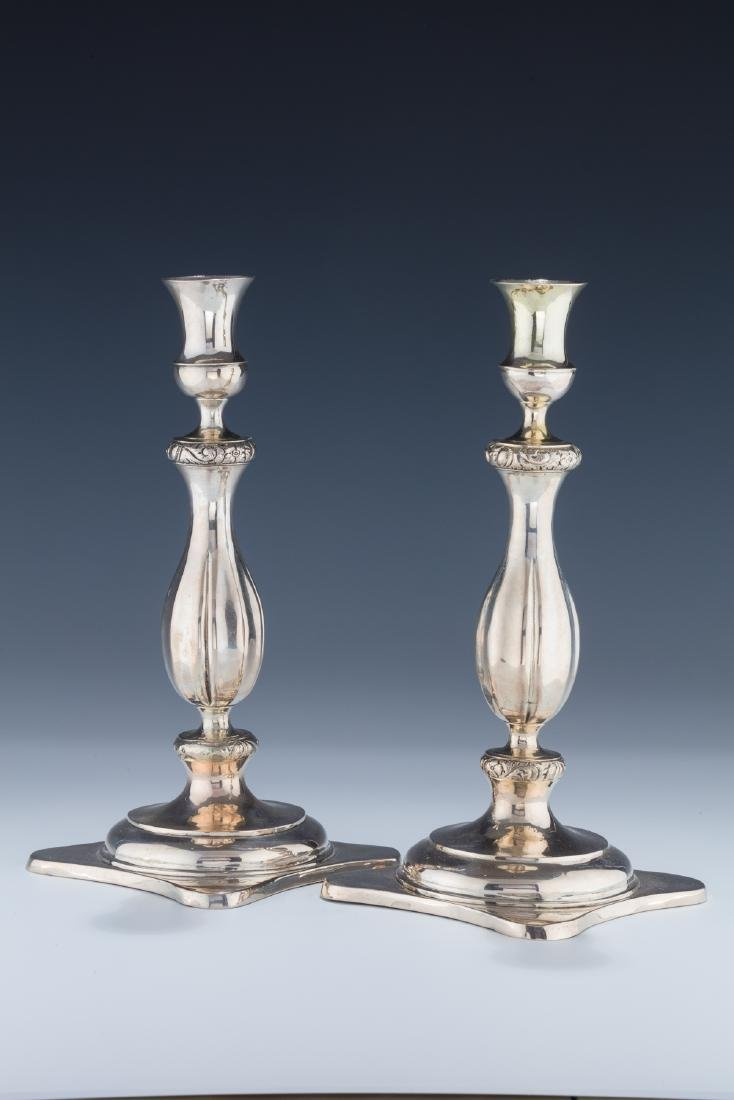A PAIR OF SILVER CANDLESTICKS. Germany, c. 1820. Each