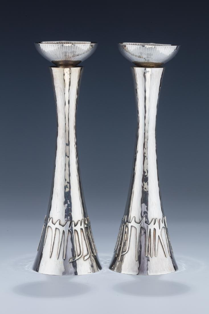 A PAIR OF STERLING SILVER CANDLESTICKS BY LUDWIG