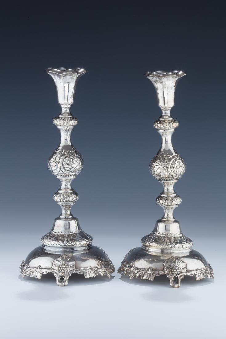 A PAIR OF LARGE SILVER CANDLESTICKS. Warsaw, c. 1890.