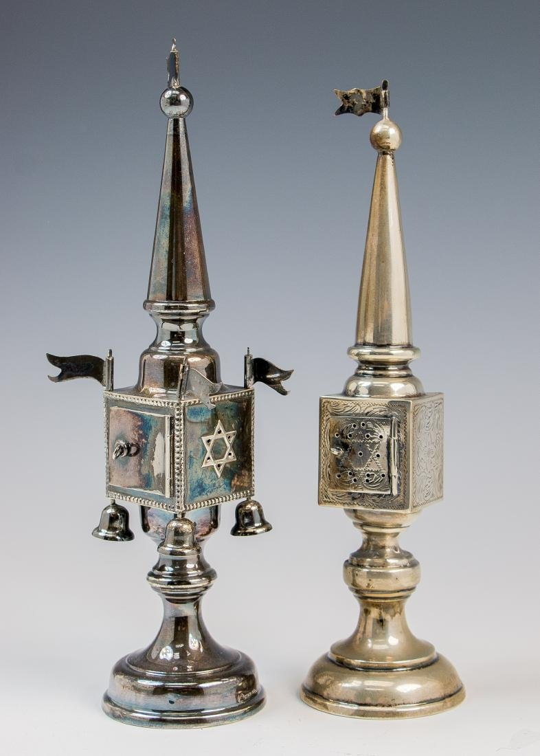 . TWO STERLING SILVER SPICE TOWERS. Germany, 20th