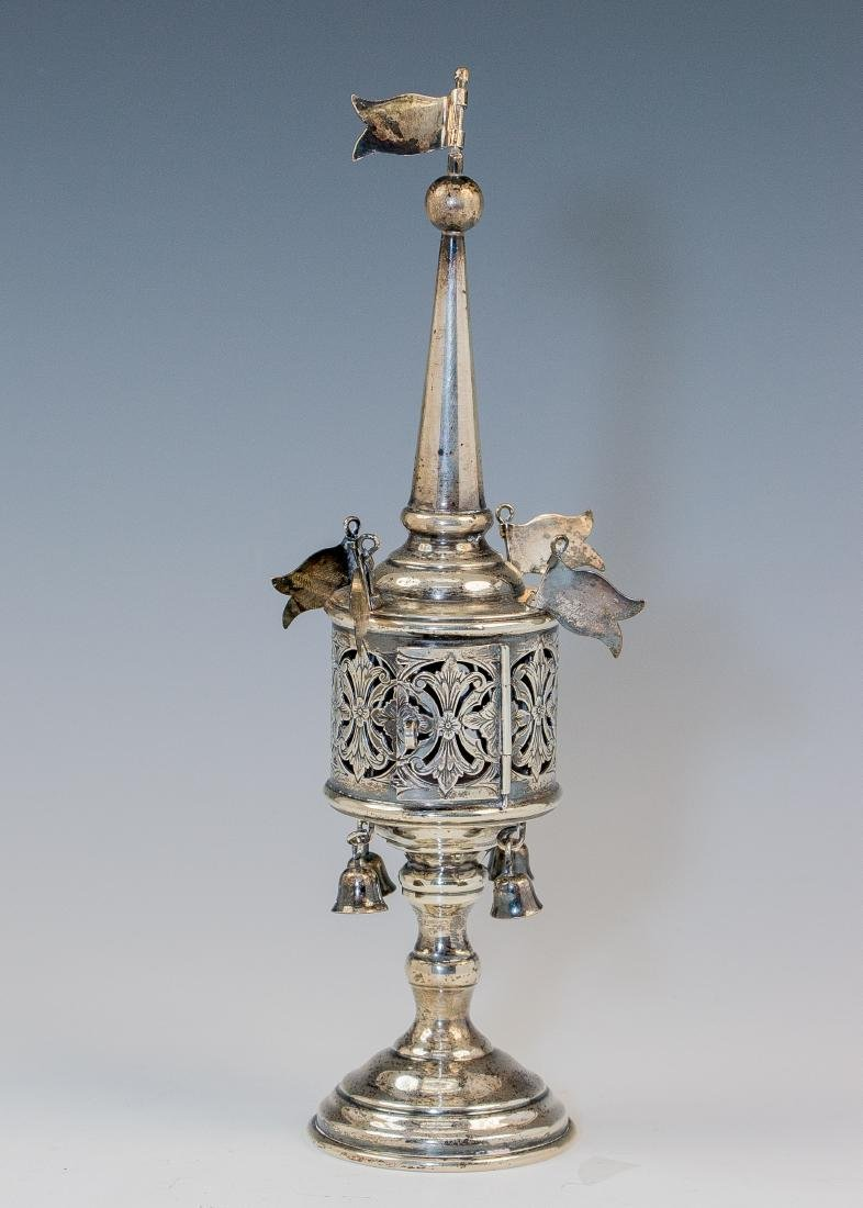 . A SILVER SPICE TOWER. American, c.1920. On round base