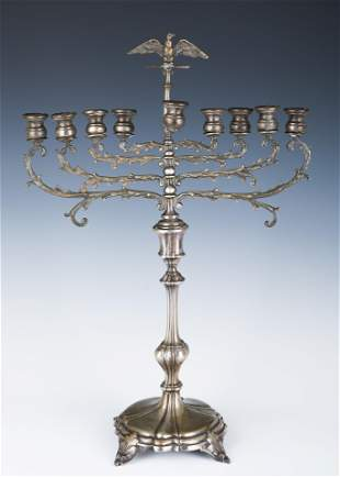 A LARGE STERLING SILVER MENORAH. Probably Israel, c.