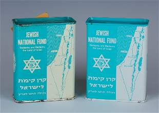 A PAIR OF JNF CHARITY BOXES. USA, c. 1970. Decorated