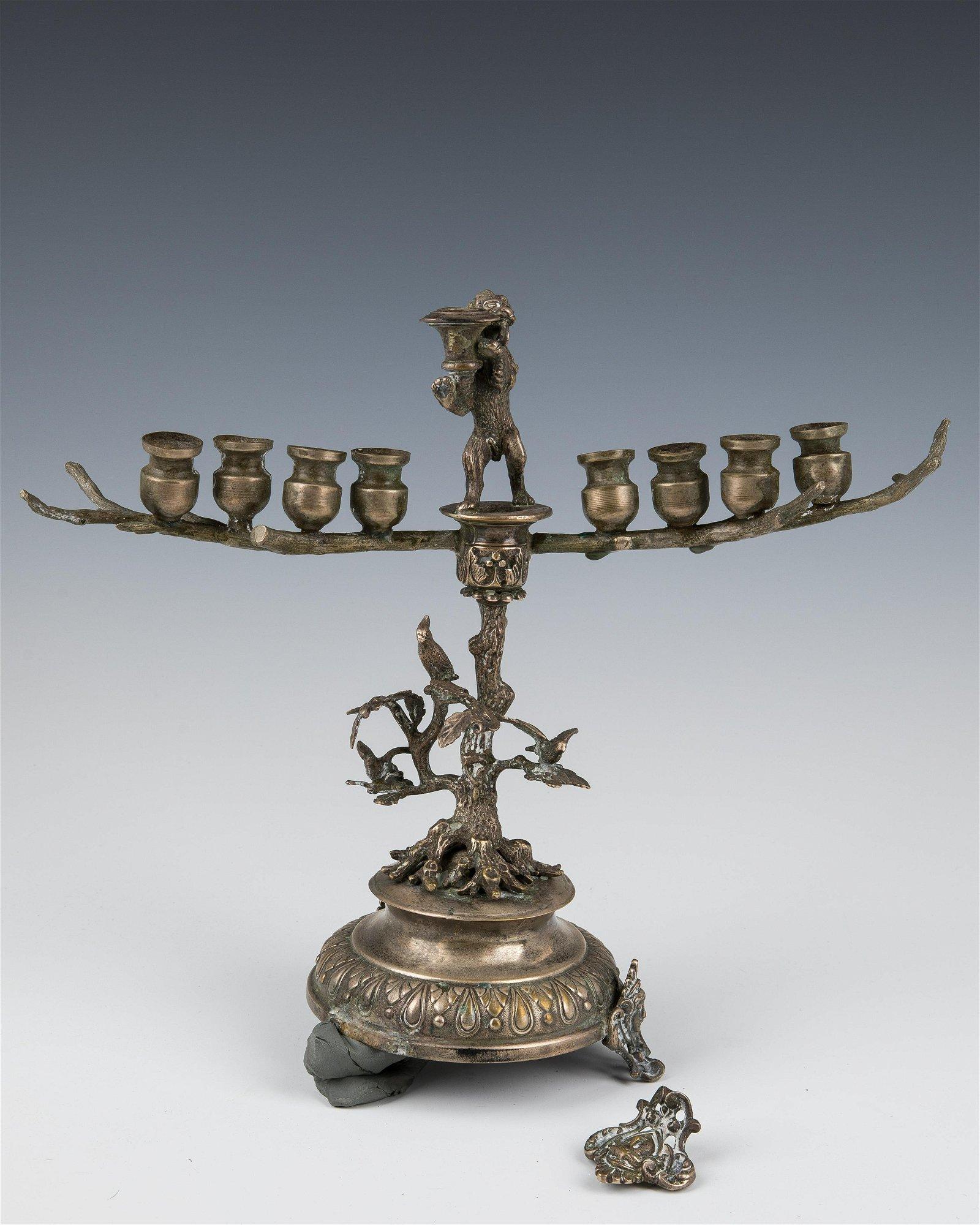 A TREE OF LIFE MENORAH. Probably Europe, 20th century