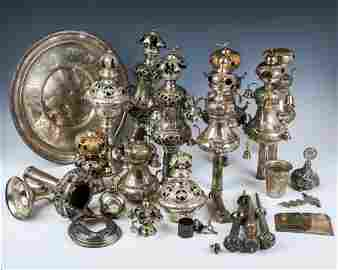A GROUP OF BROKEN TORAH SILVER AND OTHER SILVER FROM