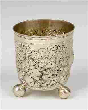 . A LARGE SILVER FOOTED BEAKER BY GEORG DANIEL DURSCH.