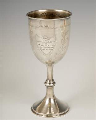 . A LARGE STERLING SILVER KIDDUSH CUP BY MORRIS