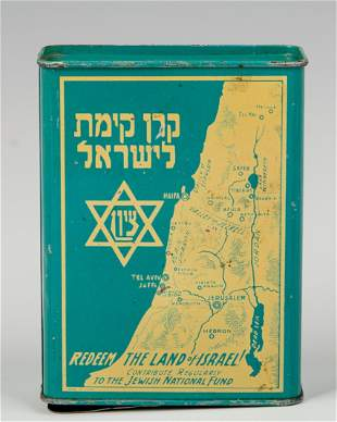 . A VINTAGE JNF CHARITY CONTAINER. N.Y.C, C. 1930. An