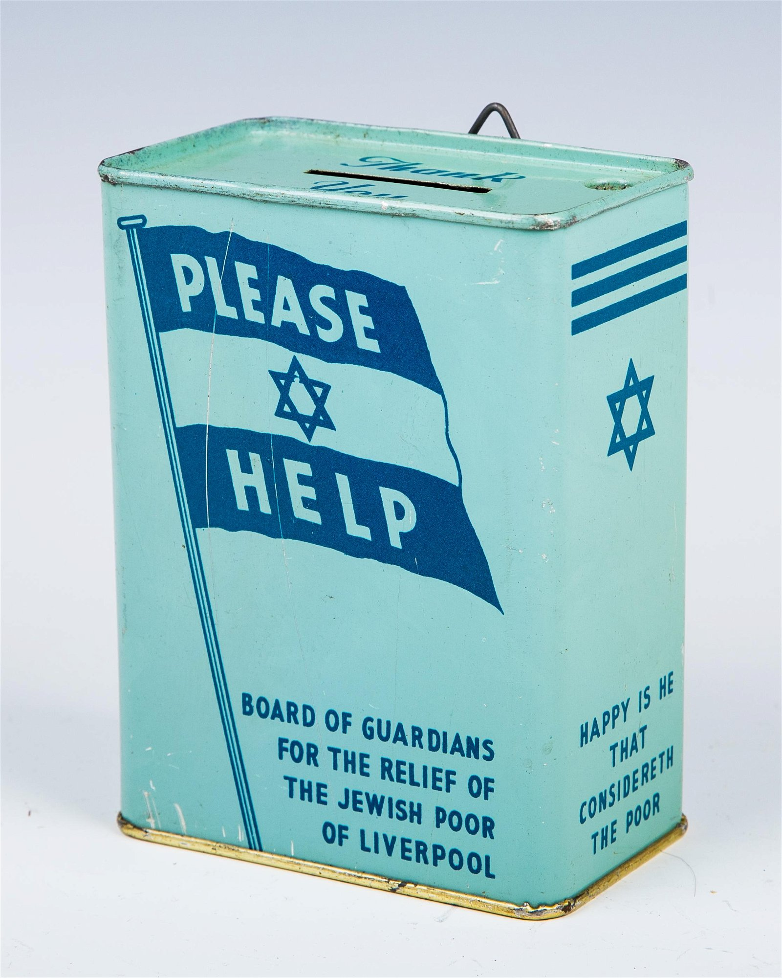 AN EARLY TIN CHARITY CONTAINER. Liverpool, c. 1950.