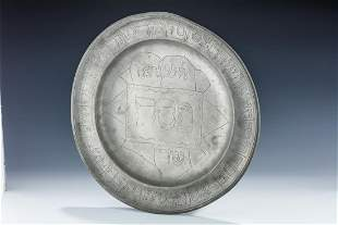 A MONUMENTAL PEWTER SEDER TRAY Germany 18th century