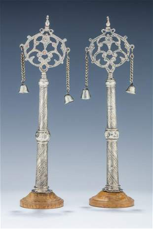 A PAIR OF SILVER TORAH FINIALS North Africa or