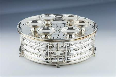 A LARGE STERLING SILVER SEDER EQUIPAGE BY LUDWIG