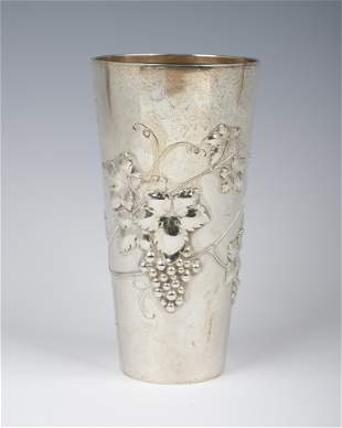 A LARGE SILVER KIDDUSH BEAKER. Germany, c. 1900. Vase